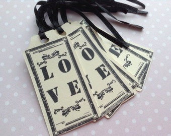 6 x hand stamped LOVE tags