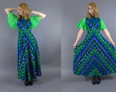 1960s Op Art Geometric Maxi Dress Medium Flutter Sleeves