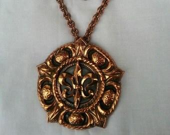 Copper Medallion Fleur De Lis Necklace Vintage