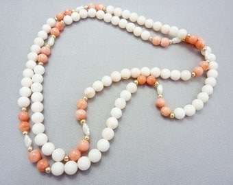 Coral Necklace Angel Skin Coral Necklace White Pink Angel Skin Coral Necklace