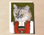 Fabiola - Holiday Greeting Card - Blank Inside - Cats In Clothes