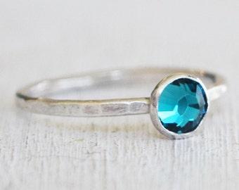 Blue Swarovski Crystal Stacking Ring - Size 5 - Sterling Silver Stack Ring - Birthstone Ring - Boho Ring - Bohemian - Metalwork
