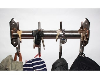 Four hook coat rack with key pegs
