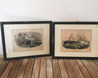 Set of Antique French Beyer Prints in Frames