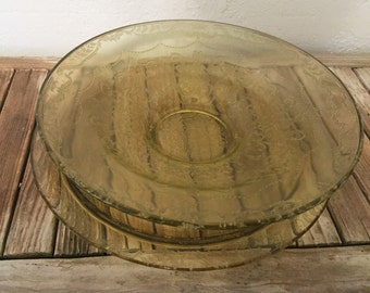 Set of Collectible Amber Depression Glass Platter and Large Bowl Madrid Pattern
