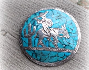 Vintage sterling silver and inlaid turquoise mosaic brooch, pendant, Mexican, Guadalajara, artist signaturet