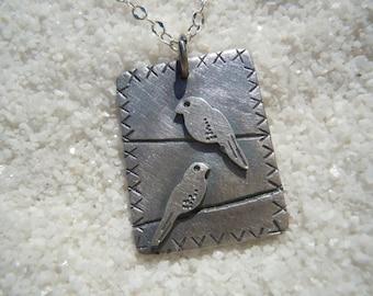 Birds on a wire necklace Artisan jewelry Bird jewelry