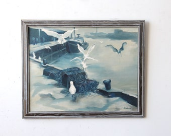 Large Blue Monotone Docks Painting