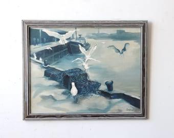 Large Blue Monotone Docks Painting