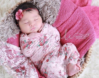 Shades of Pink print stretch lace or solid pink swaddle wrap AND / OR hydrangea flower headband, newborn, stretch lace by Lil Miss Sweet Pea