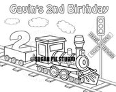 Personalized Printable Transportation Choo Choo Train Favor childrens kids coloring page activity PDF or JPEG file