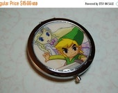 ON SALE Metal Compact Mirror made from Upcycled Legend of Zelda Video Game Artwork