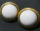 Avon Earrings - Lucite Earrings - White and gold earrings - Clip-ons
