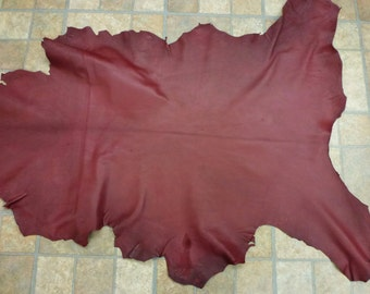 """Leather 7.5 sq ft Oxblood Cationic Finished Goatskin Hide 37""""x25"""" 2.75-3 oz / 1.1-1.2 mm #357 PeggySueAlso™"""