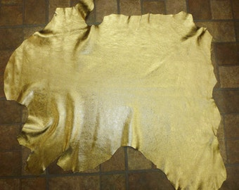 """Leather 6.50 sq ft 33""""x22"""" GOLD TENDER Metallic Milled GOATSKIN Hide 2.5-3 oz / 1-1.2 mm #531 PeggySueAlso™"""