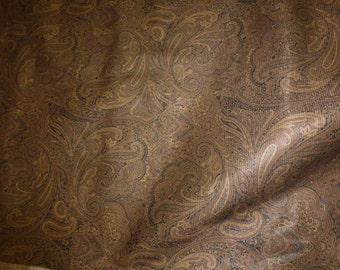 "Leather 8""x10"" Brown Gold and Black Large PAISLEY Pattern Textured Cowhide 2-2.25 oz / .8-.9 mm PeggySueAlso™"