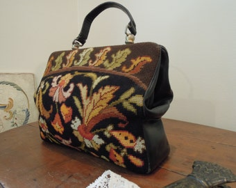 Vintage Wool Needlepoint and Black Leather Leaf and Scroll Handbag / Purse / Fabulous Tote / Carpet Bag