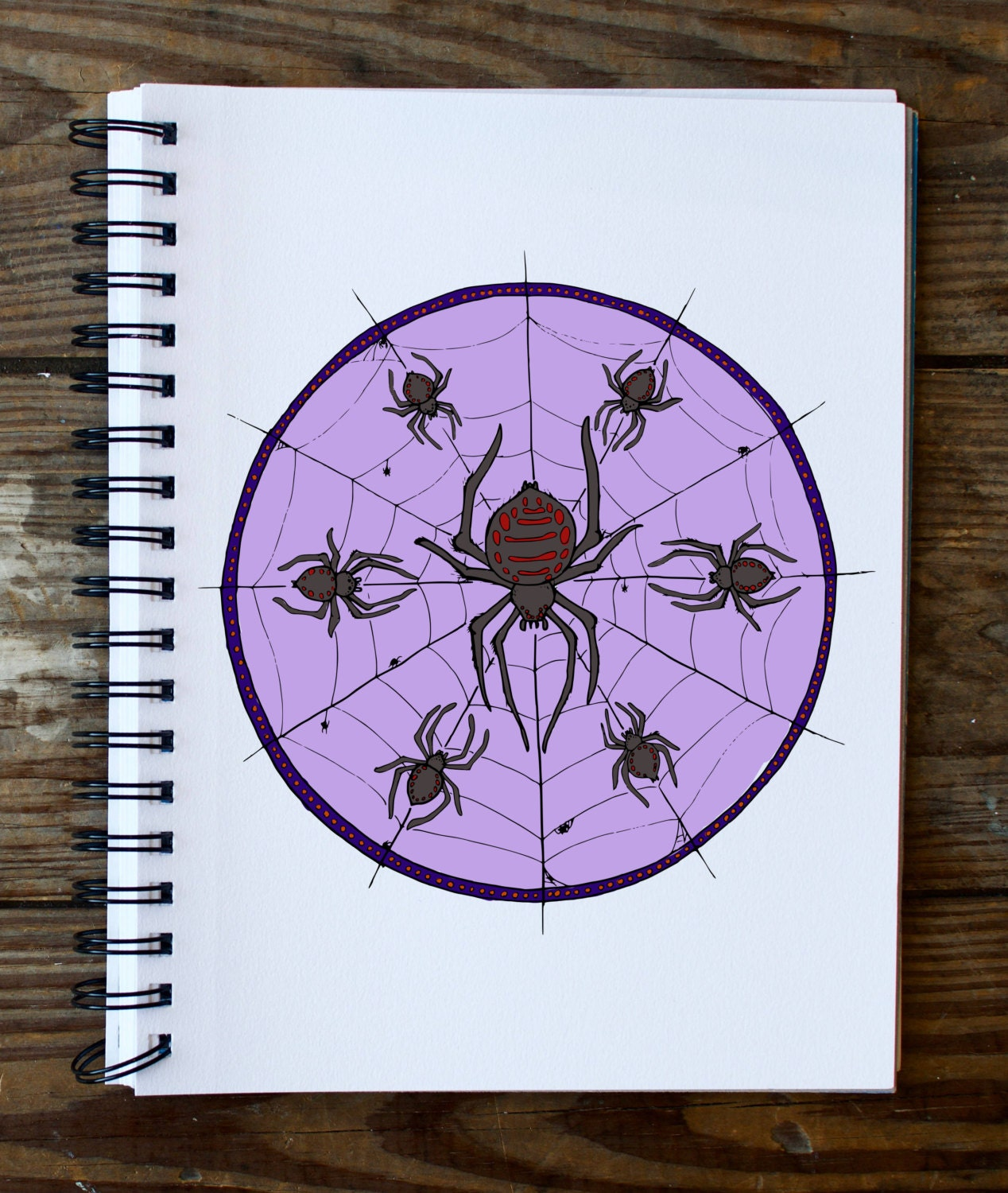 creepy spider halloween coloring mandala page instant