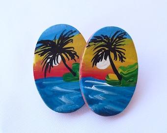 Vintage Island Earrings, Hand Painted on Clay, Palm Trees, Ocean, Beach Wear