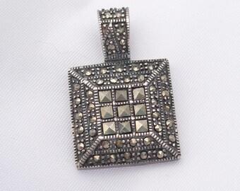 Sterling Silver Marcasite Pendant - Hallmarked 925