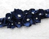 Navy Blue Wedding Sash/ Bridal Ribbon Sash/ Bridesmaids Sash/ Handmade Accessory