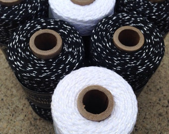 Divine Twine - Bakers twine - NEW Metallics - Icicle and Black Diamond - TWO Pack - Your Choice of Amount