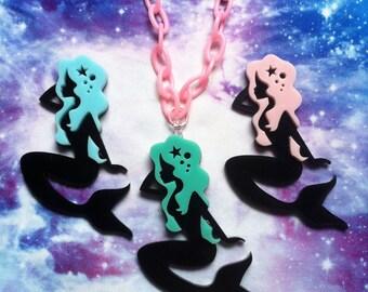 Pastel Goth Mermaid Acrylic Necklace, Fairy Kei, Lolita, Kawaii