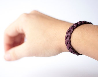 Braided Leather Bracelet / Mulberry
