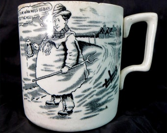 SALE! Antique Motto Mug, Yorkshire Tykes Half Pint Black Transferware Comic Cartoon Barkers & Kent Tankard 1920s