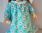 18 Inch NIGHTGOWN Doll Clothes Teal With Hot Pink Flowers Ruffle