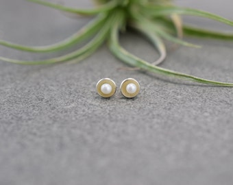 Tiny Gold or Silver and Pearl Stud Earrings