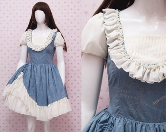 Blue Classic Puffy Arms Victorian Dress with Off White Chiffon Ruffled Skirt - Vintage Style Dress - Retro Looks Dress - Custom to your size