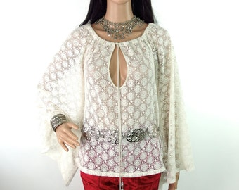 HUZZAR DESIGN Lacey Peasant Top With Angel Sleeves S-M