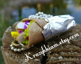 Handmade polymer clay chicken burrito necklace pendant