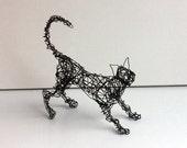 Unique Wire Cat Sculpture - Cat Art - PLAYFUL KITTY