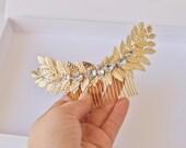 Grecian shiny Gold tone laurel leaf hair bridal comb with rhinestones