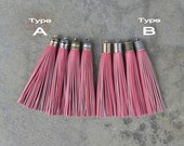 Dusty Cedar (RED) Leather (Cowhide) TASSEL in 12mm Dome-shaped Cap (Type A) or Lined Cap (Type B)- Pick your tassel cap