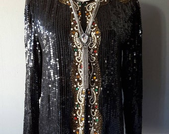 Sale 50% Off/// Vintage SEQUINED BEADED SILK Jacket Made In India With Pearl And Gemstone Accents, Just Breathtaking