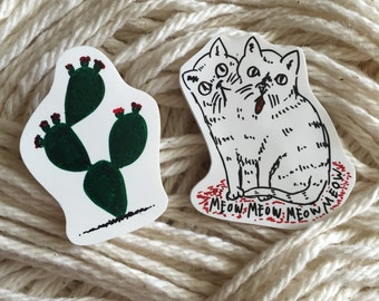 Cacti + Kitty Pin Set
