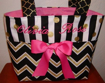 Diaper bag, handbag, purse, book bag..Pink N Black N Gold Chevron with Name..Customize to match your carseat canopy(see fashionfairytales).