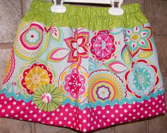 Flowers N' Dots..Girls Skirt, infant toddler skirt. Available in 0-12 months, 1/2, 3/4, 5/6, 7/8, 9/10 Bigger Sizes Available