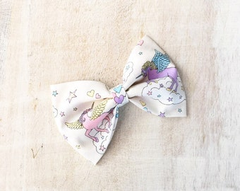 Pretty pastel white Unicorn rainbow cloud hair bow Kawaii pin up