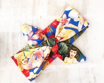 Blue Hawaii Aloha girls tie up headband Pin up Rockabilly Bandana