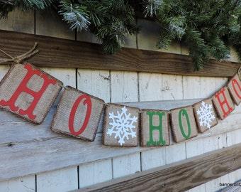Christmas Decor Banner - Christmas Decor Garland - Ho Ho Ho Banner - Snowflakes Banner - Santa Decor - Cute Christmas Photo Prop