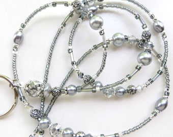 STUNNING SILVER ROSE- Beaded Id Lanyard Badge holder- Silver Crystals and Pearls with Tibetan Silver Beads and Spacers (Magnetic Clasp)
