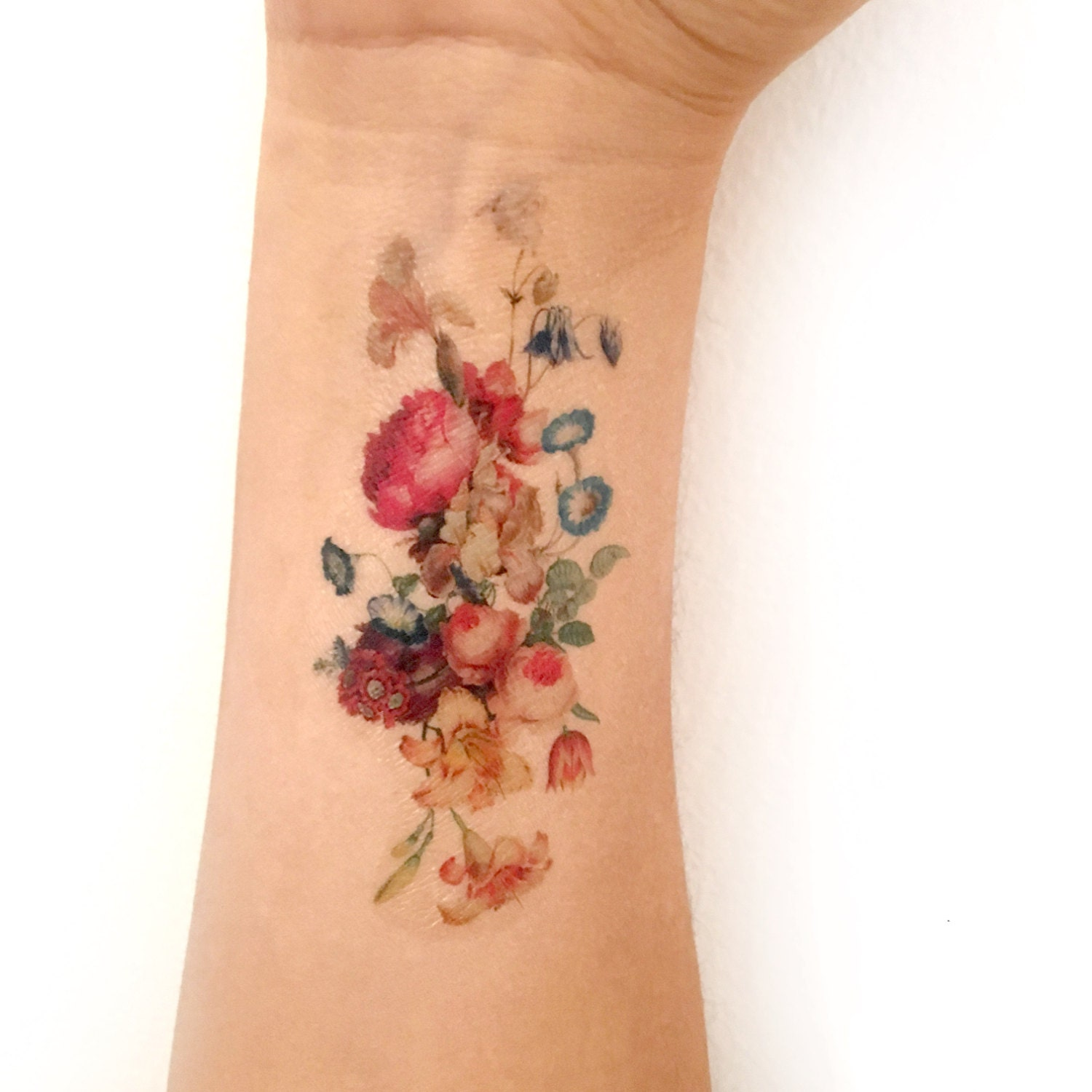 Bouquet Tattoo Tattoos: Vintage Floral Temporary Tattoo. Fresh Bouquet Of Flowers