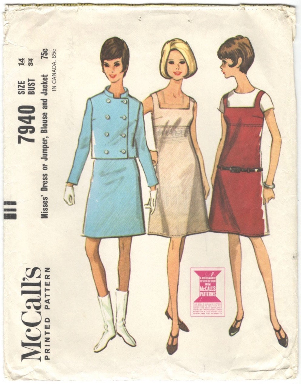 1960s dress or jumper, blouse and jacket pattern after Courrèges - McCall's 7940