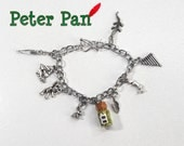 Peter Pan Charm Bracelet, Pan Flute, Pixie Dust, 9 Charms, Bottle Jewelry, Think of the Happiest Thoughts, Once Upon a Time Jewelry