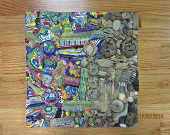 Mixed Media Mosaic Original Art Wall Hanging Beach Stone Driftwood by CS Alexis Beach Combing