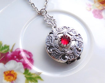 Locket Floral Filigree Design With Birthstone Swarovski Crystal January Ruby Red Siam Antique Silver Handcrafted by TheTown Tinker